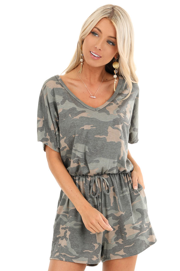 Olive and Taupe Camouflage Print Romper with Waist Tie front close up