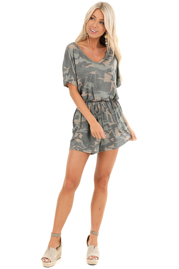 Olive and Taupe Camouflage Print Romper with Waist Tie front full body
