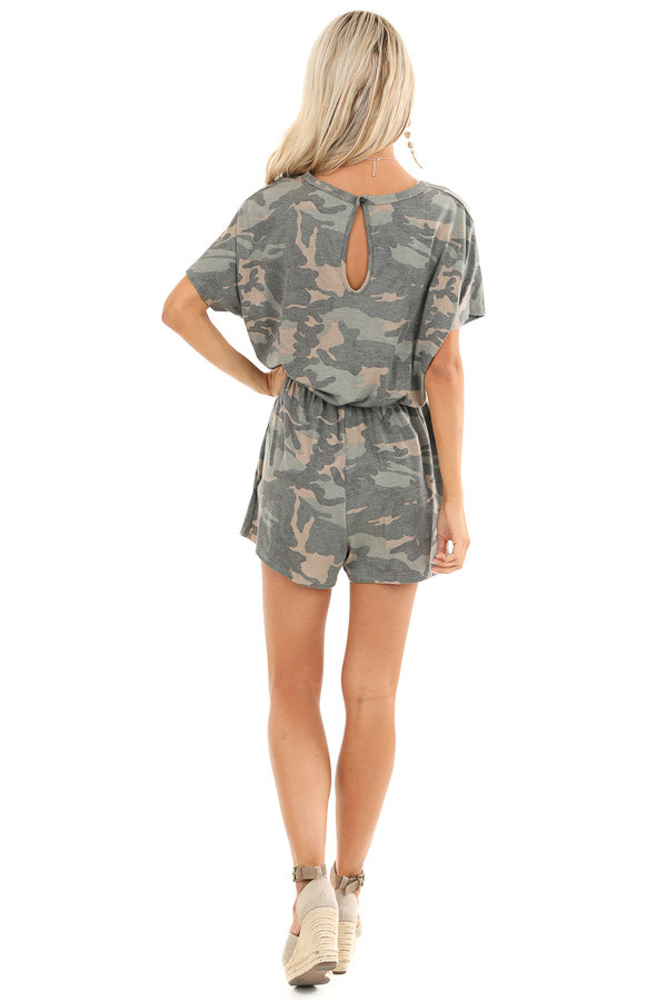Olive and Taupe Camouflage Print Romper with Waist Tie back full body