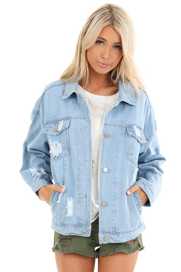 Light Denim Distressed Long Sleeve Jacket with Pockets front close up