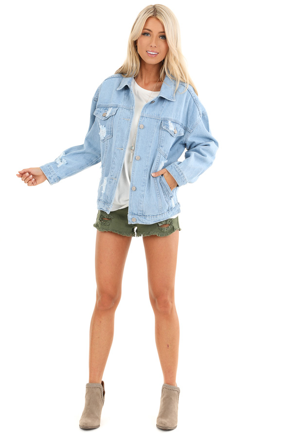 Light Denim Distressed Long Sleeve Jacket with Pockets front full body