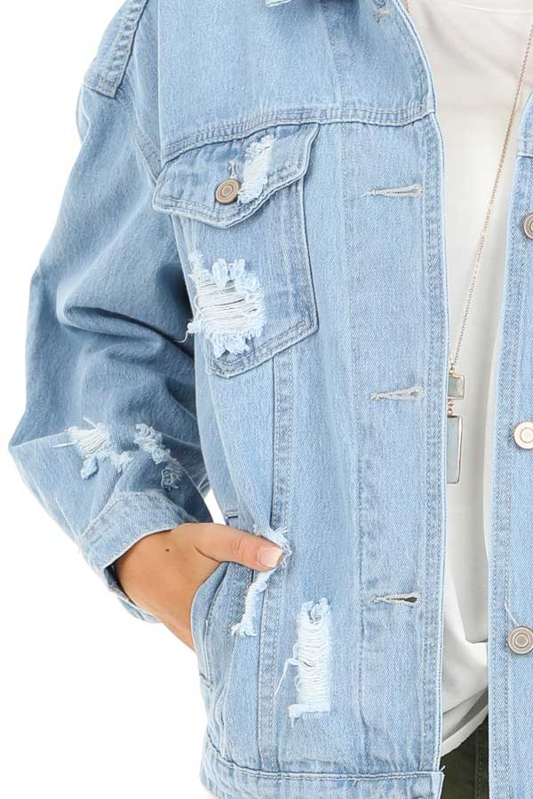 Light Denim Distressed Long Sleeve Jacket with Pockets detail