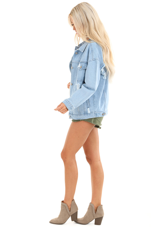 Light Denim Distressed Long Sleeve Jacket with Pockets side full body