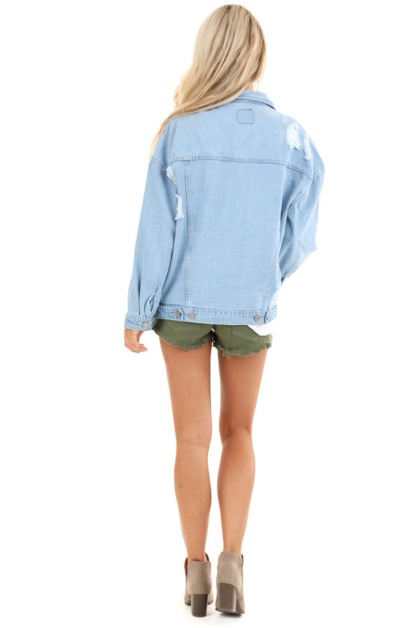 Light Denim Distressed Long Sleeve Jacket with Pockets back full body