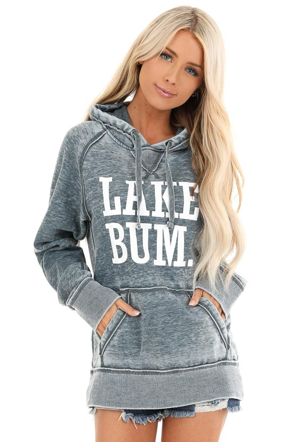 Midnight Mineral Wash Hoodie with White 'LAKE BUM' Print front close up