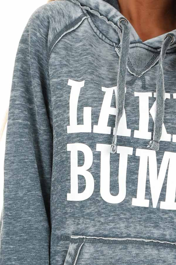 Midnight Mineral Wash Hoodie with White 'LAKE BUM' Print detail