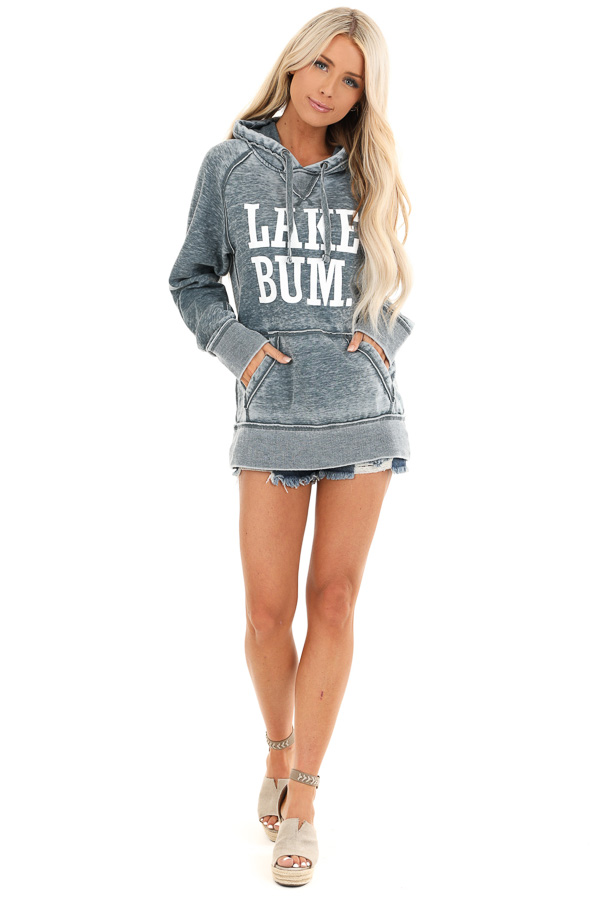Midnight Mineral Wash Hoodie with White 'LAKE BUM' Print front full body