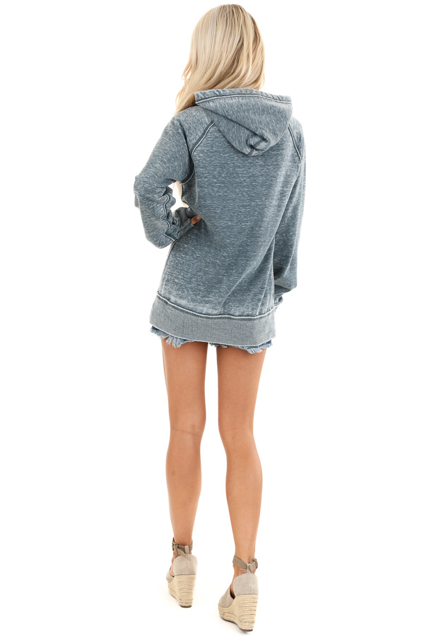 Midnight Mineral Wash Hoodie with White 'LAKE BUM' Print back full body