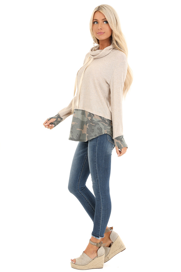 Oatmeal Long Sleeve Cowl Neck Top with Camouflage Contrast side full body