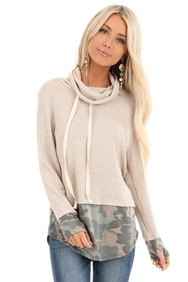 Oatmeal Long Sleeve Cowl Neck Top with Camouflage Contrast front close up