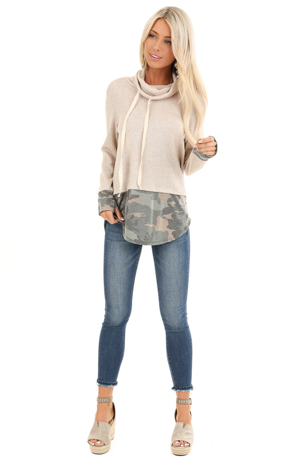 Oatmeal Long Sleeve Cowl Neck Top with Camouflage Contrast front full body