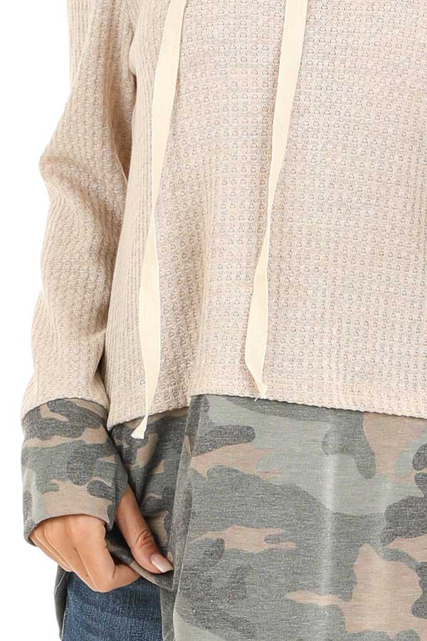 Oatmeal Long Sleeve Cowl Neck Top with Camouflage Contrast detail
