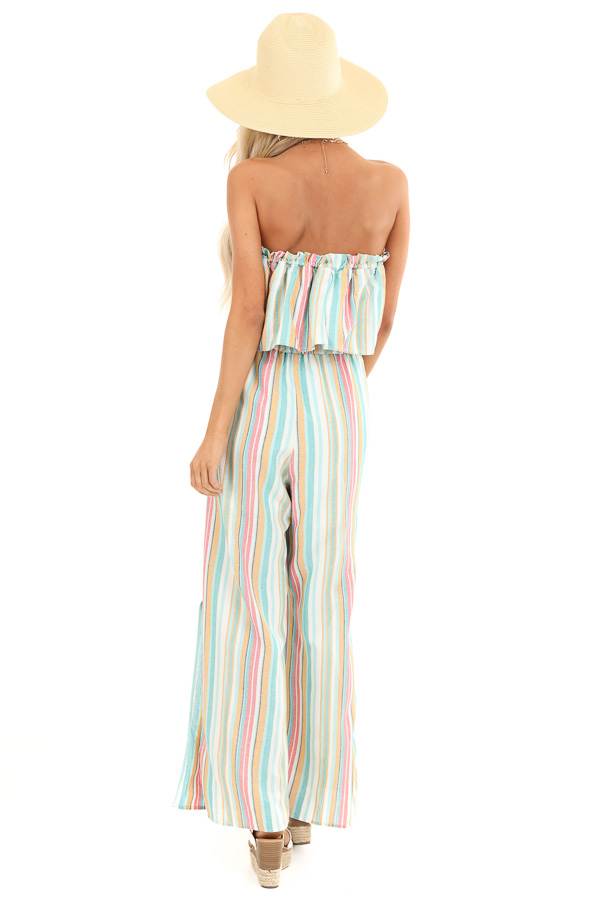 Aqua Blue Multi Colored Sleeveless Jumpsuit with Pockets back full body
