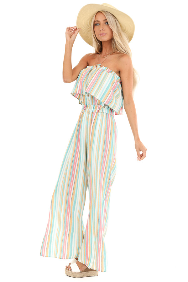 Aqua Blue Multi Colored Sleeveless Jumpsuit with Pockets side full body