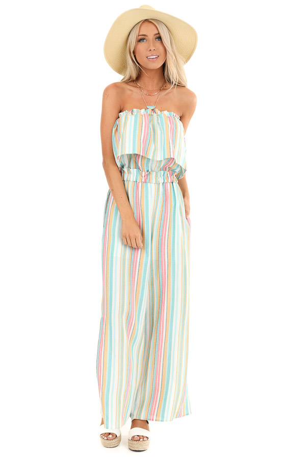 Aqua Blue Multi Colored Sleeveless Jumpsuit with Pockets front full body