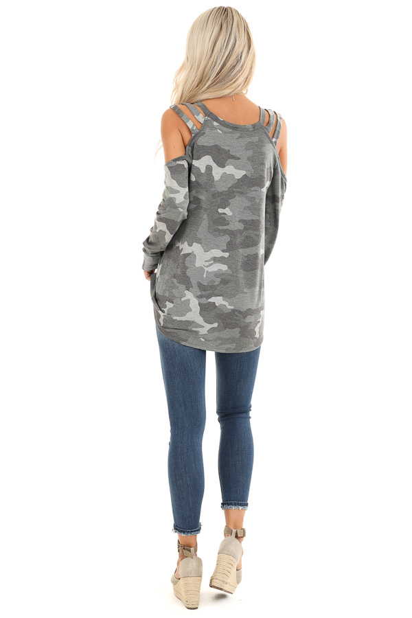 Army Green Camo Print Top with Strappy Cold Shoulders back full body