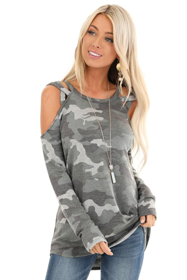 Army Green Camo Print Top with Strappy Cold Shoulders front close up
