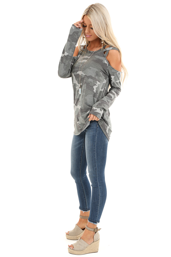 Army Green Camo Print Top with Strappy Cold Shoulders side full body