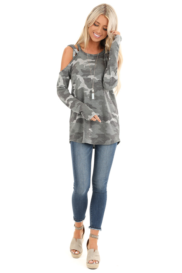 Army Green Camo Print Top with Strappy Cold Shoulders front full body