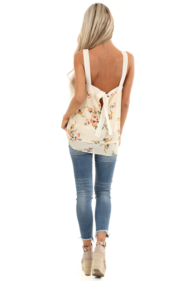 Cream Floral Tank Top with Layered Hemline and Back Tie back full body