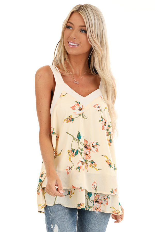 Cream Floral Tank Top with Layered Hemline and Back Tie front close up