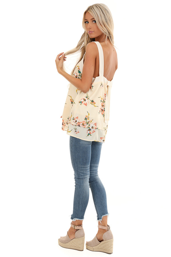 Cream Floral Tank Top with Layered Hemline and Back Tie side full body