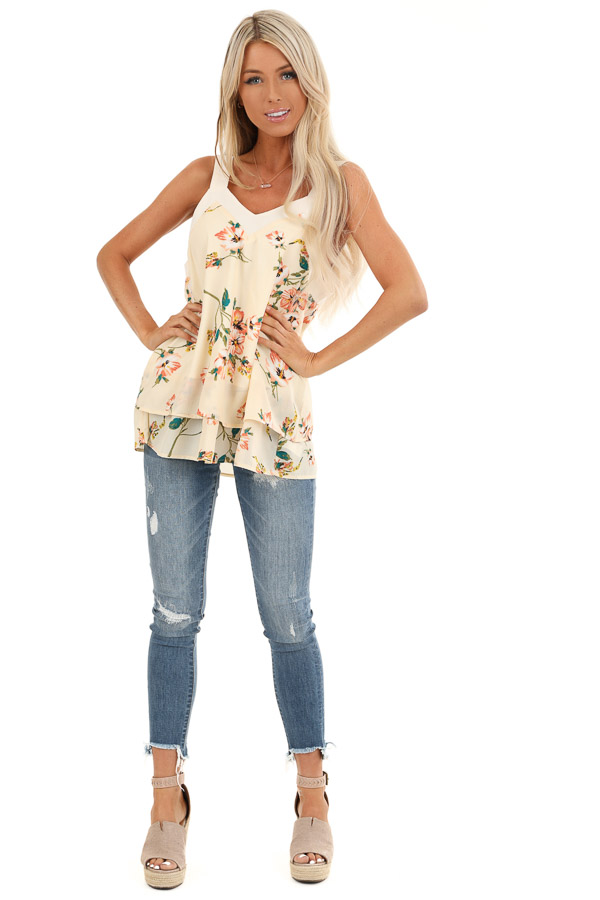 Cream Floral Tank Top with Layered Hemline and Back Tie front full body