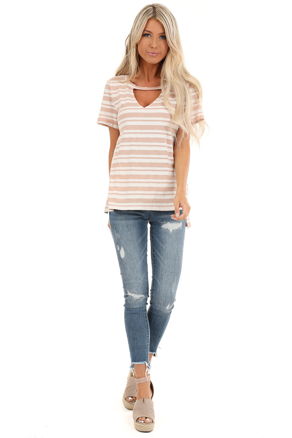 Dusty Rose and Ivory Striped Top with Cutout Detail front full body