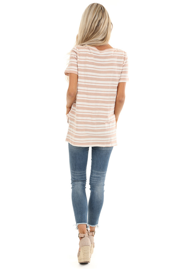 Dusty Rose and Ivory Striped Top with Cutout Detail back full body