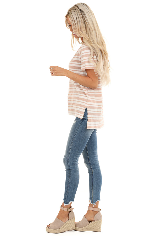 Dusty Rose and Ivory Striped Top with Cutout Detail side full body