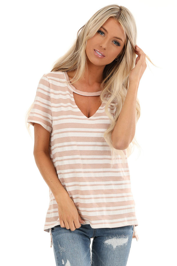 Dusty Rose and Ivory Striped Top with Cutout Detail front close up