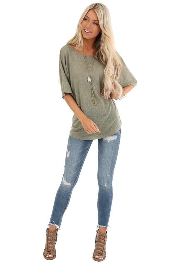 Moss Green Knit Short Sleeve Top with Low Back Bow Detail front full body