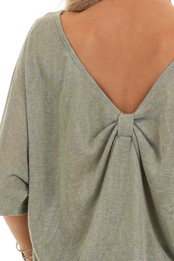 Moss Green Knit Short Sleeve Top with Low Back Bow Detail detail