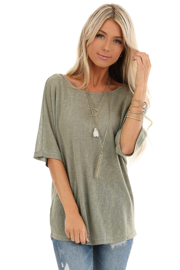 Moss Green Knit Short Sleeve Top with Low Back Bow Detail front close up