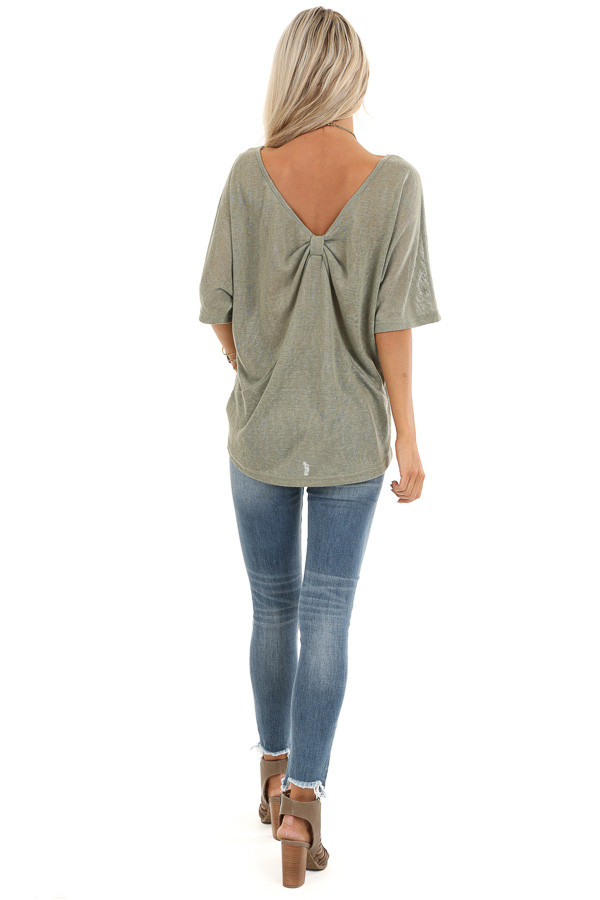 Moss Green Knit Short Sleeve Top with Low Back Bow Detail back full body