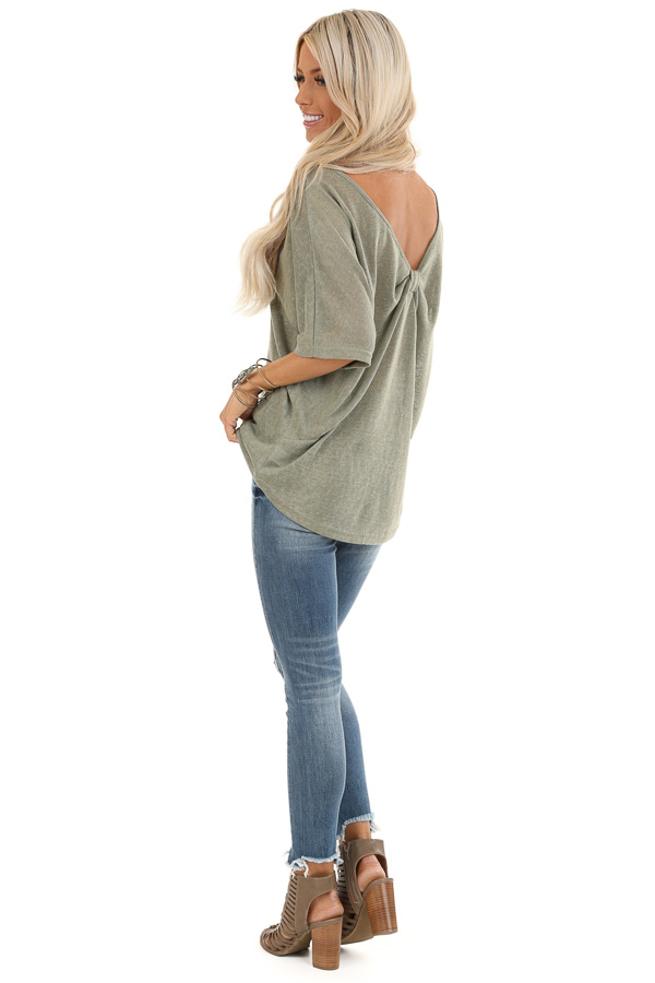 Moss Green Knit Short Sleeve Top with Low Back Bow Detail side full body