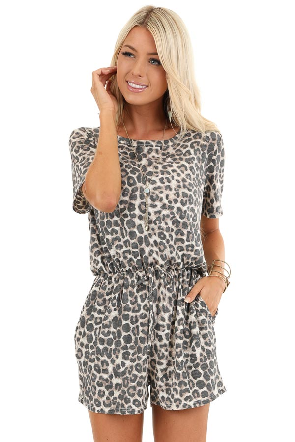 Cream Leopard Print Thermal Knit Romper with Pockets front close up