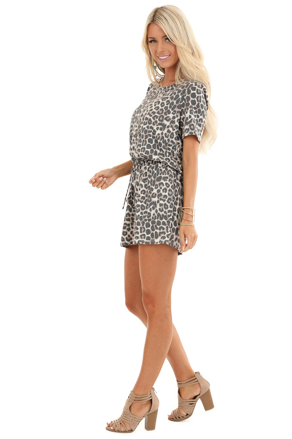 Cream Leopard Print Thermal Knit Romper with Pockets front full body