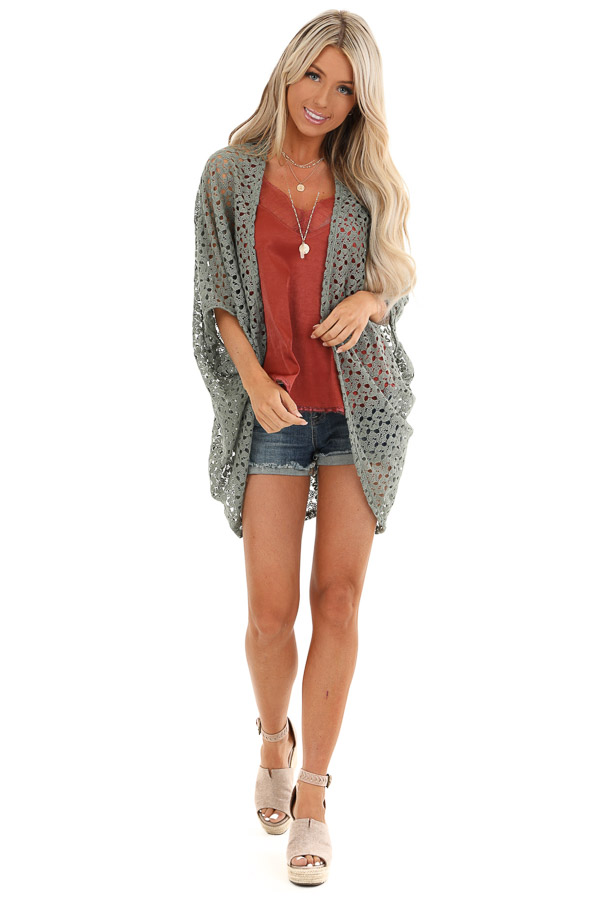 Olive Open Front Sheer Crochet Half Sleeve Cardigan front full body
