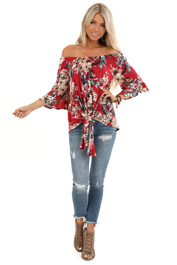 Garnet Floral Off the Shoulder Top with Front Tie Detail front full body