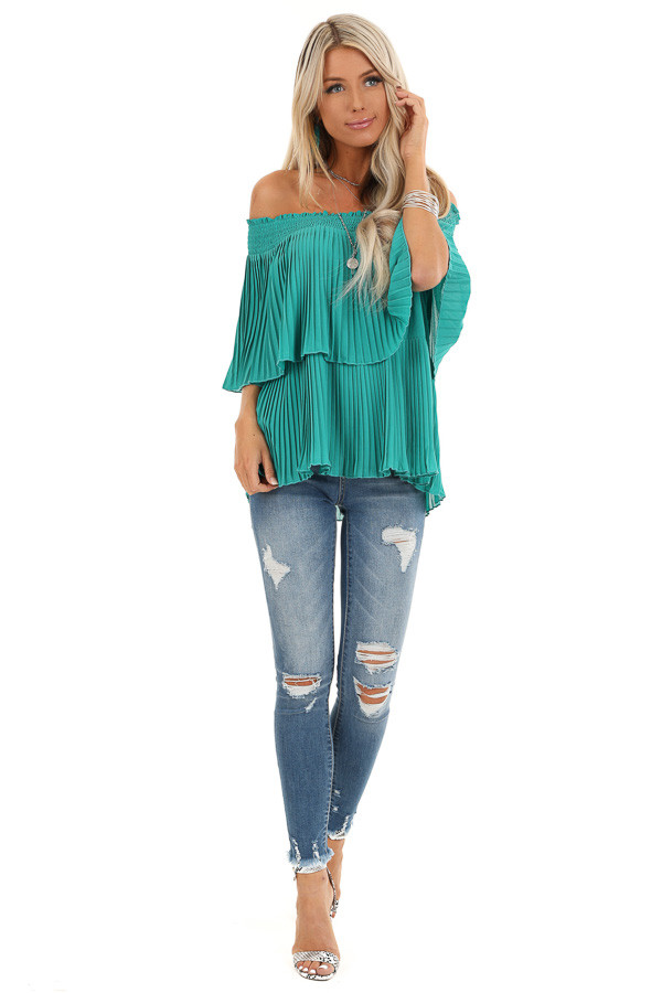 Teal Off Shoulder Double Layered Top with Pleated Details front full body