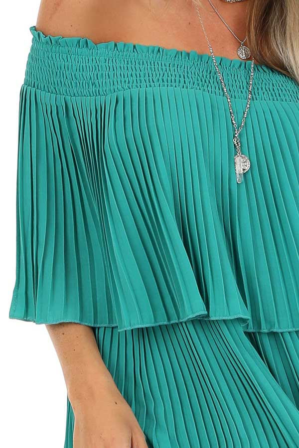 Teal Off Shoulder Double Layered Top with Pleated Details detail
