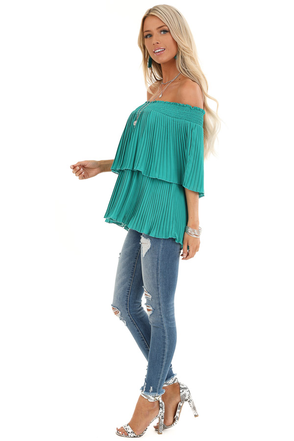 Teal Off Shoulder Double Layered Top with Pleated Details side full body