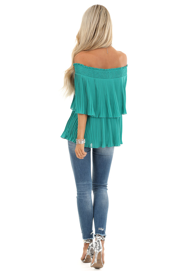 Teal Off Shoulder Double Layered Top with Pleated Details back full body