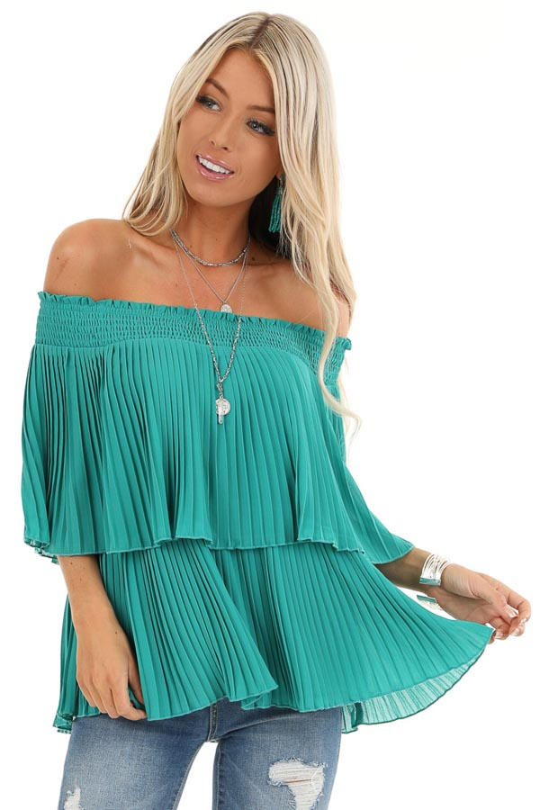 Teal Off Shoulder Double Layered Top with Pleated Details front close up