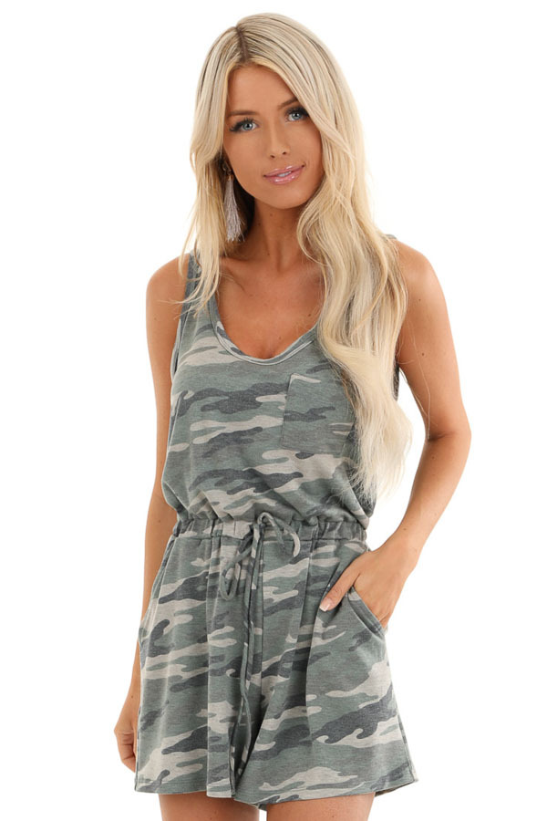 Olive Camo Print Sleeveless Romper with Elastic Waist front close up