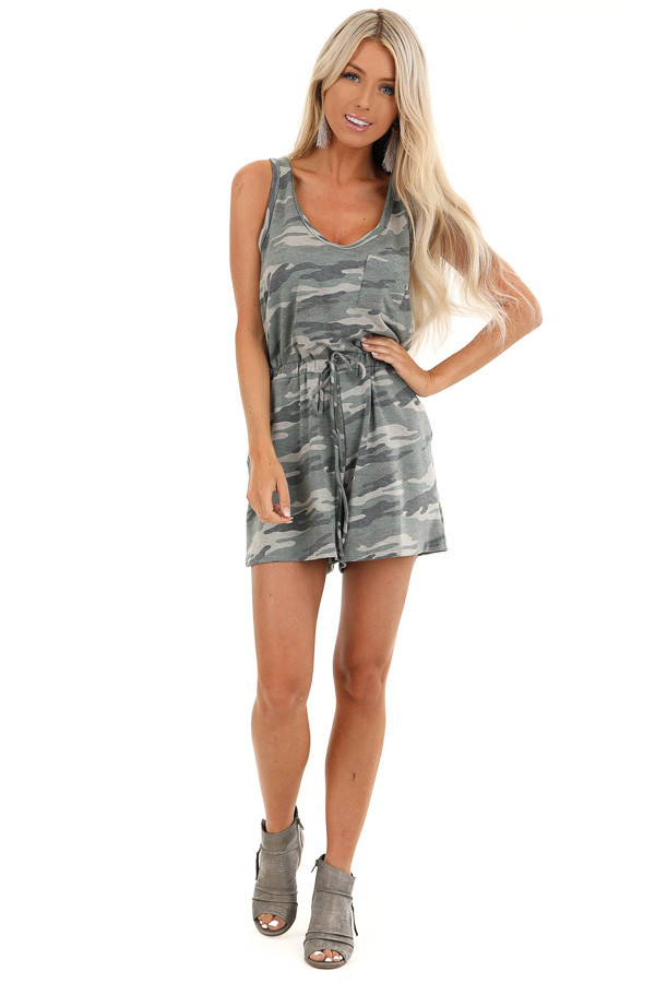 Olive Camo Print Sleeveless Romper with Elastic Waist front full body
