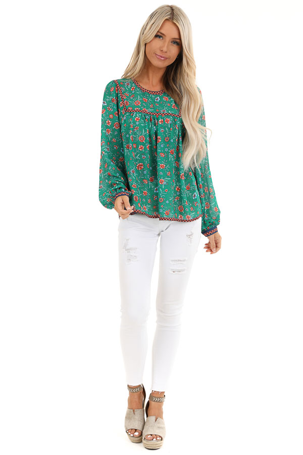 Grass Green and Sunset Orange Floral Print Long Sleeve Top front full body