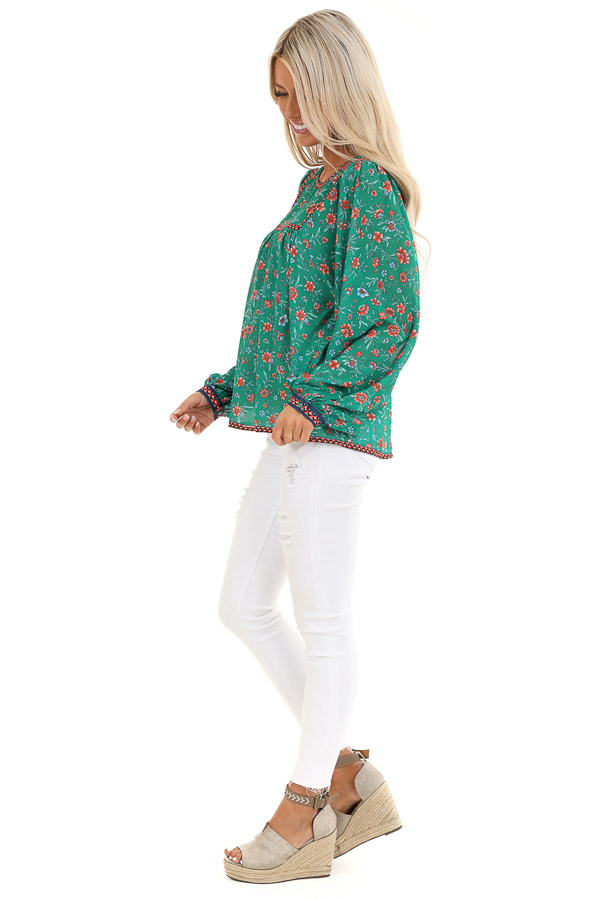 Grass Green and Sunset Orange Floral Print Long Sleeve Top side full body