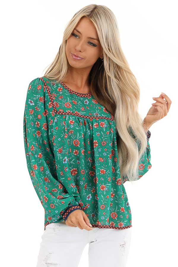 Grass Green And Sunset Orange Floral Print Long Sleeve Top
